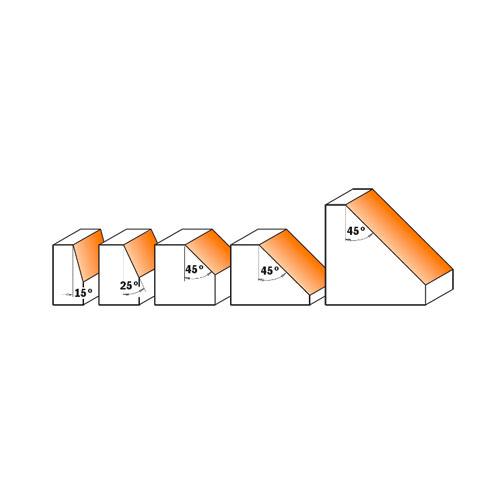 Фрезер за скосяване CMT D=22.2мм L=55мм I=10мм А=25° S=8мм Z=2, за дърво, HW, RH, с лагер - big, 21748