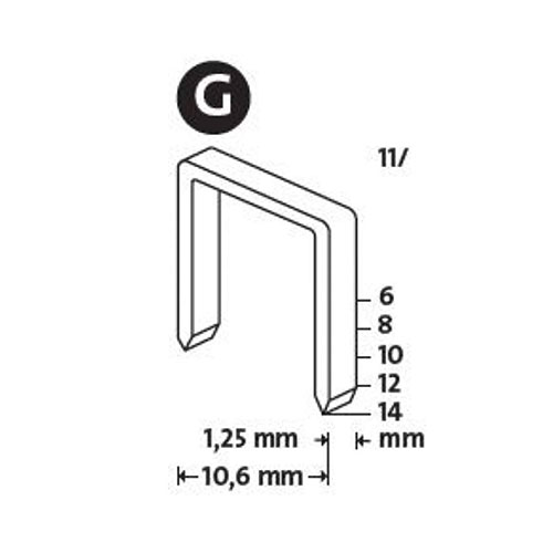 Кламери NOVUS 11/10мм, тип 11/G, плоска тел, 600бр/блистер - big, 94116