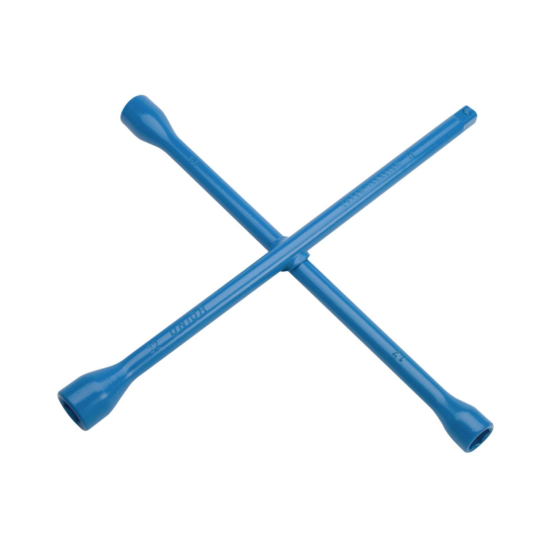 Ключ за джанти кръстат UNIOR 17x19x22x24мм, CrV, вътрешен шестостен-квадрат, закален, лакиран