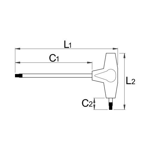 Отвертка торкс двустранни UNIOR TX45 223мм, закалена, CrV, Т-образна дръжка - big, 17763