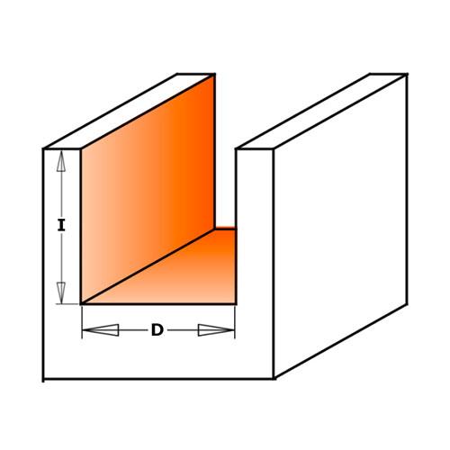 Прав фрезер CMT D=16мм I=20мм L=57мм S=8мм Z=2, HW, RH - big, 19798