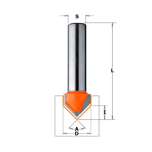 Профилен фрезер CMT D=12.7мм L=44мм A=90° I=12.7мм S=8мм Z=2, HW, RH - big, 19482