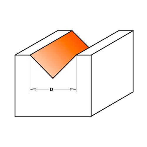 Профилен фрезер CMT D=12.7мм L=44мм A=90° I=12.7мм S=8мм Z=2, HW, RH - big, 19483