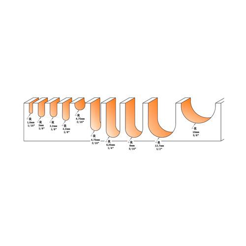 Профилен фрезер CMT D=12.7мм L=51мм R=6.35мм I=9.5мм S=8мм Z=2, HW, RH - big, 21300