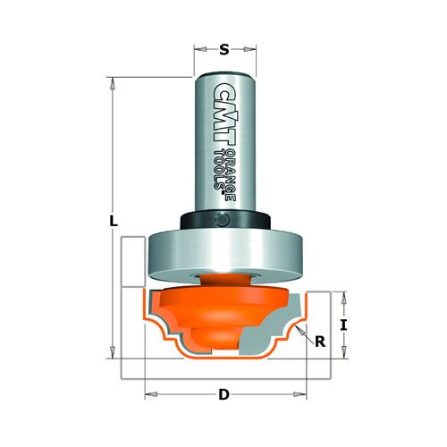 Профилен фрезер CMT D=31.7мм L=58мм R=4мм I=13мм S=12мм Z=2, HW, RH