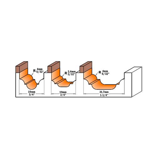 Профилен фрезер CMT D=31.7мм L=58мм R=4мм I=13мм S=12мм Z=2, HW, RH - big, 19265