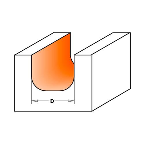 Профилен фрезер CMT D=31.7мм L=60мм R=6.4мм I=16мм S=12мм Z=2, HW, RH - big, 19486