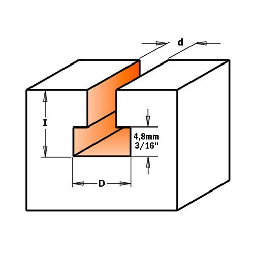Профилен фрезер CMT D=9.5мм d=4.8мм L=54мм I=11мм S=8мм Z=1, HW, RH - big, 18845