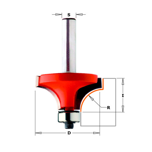 Радиусов фрезер CMT D=22.2мм L=54мм I=12.7мм R=4.75мм S=8мм Z=2, HW, RH - big, 18168