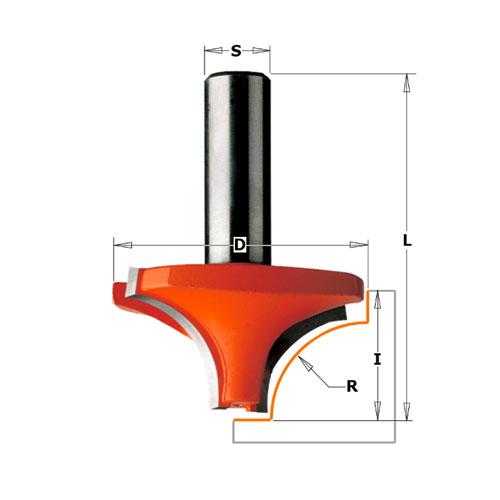 Радиусов фрезер CMT D=28.6мм L=44.5мм I=12.7мм R=8мм S=8мм Z=2, HW, RH - big, 21664
