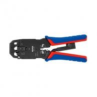 Клещи кримпващи KNIPEX 200мм, RJ10, RJ11/12, RJ45, двуцветни-двукомпонентни дръжки